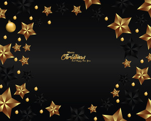 Luxury Christmas background, design for banner and greeting card, design with stars, Luxury greeting card template
