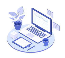 Workplace with laptop - modern vector isometric illustration