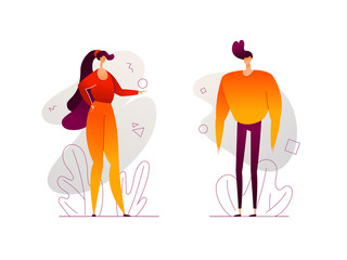 Cute couple - modern flat design style illustration