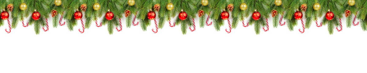 Christmas tree branches on white background as a border or template
