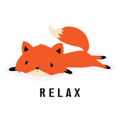 Deurstickers Bestsellers Kids cartoon fox resting