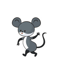 Cheerful  mouse in cartoon style. Childhood vector illustration isolated on a white background.