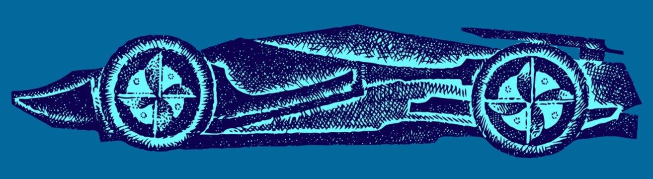 Race car on blue background. Vector illustration. Background.