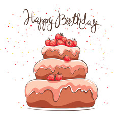 Birthday card / Chocolate cake with strawberry berries, vector illustration