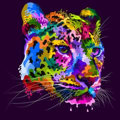colorful ceetah heads melt in pop art style