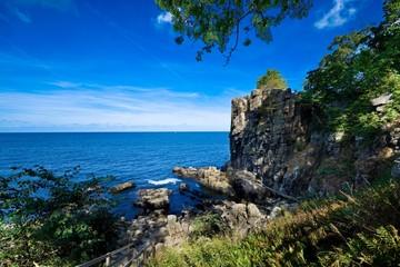 Sheer cliffs of the northern coast of Bornholm island - Helligdomsklipperne (Sanctuary Rocks), Denmark