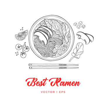 Hand drawn vector vegetable noodles Ramen soup sketch, made of mushroom, spinach, tomato, lime and sesame. Vegetarian Asian food, simple line drawing menu decoration.