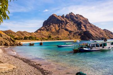 Padar Island, Komodo National Park in East Nusa Tenggara, Indonesia. Amazing marine seascape with mountains and rocks