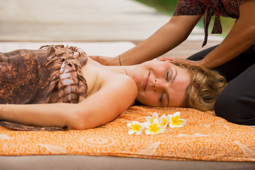 Woman enjoying full body massage