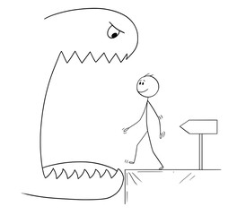 Cartoon stick drawing conceptual illustration of smiling man walking with ignorance and no fear in to open mouth of a big monster, following advice of the arrow.