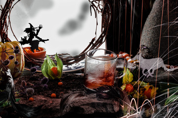 Halloween Background with tea cup on the front plan