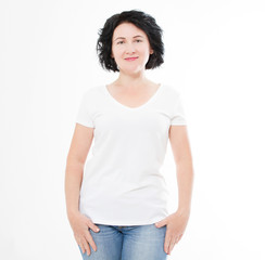 sexy middle age woman in tshirt on white background. Mock up for design. Copy space. Template. Blank