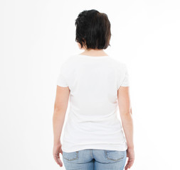 back view brunette woman in tshirt on white background. Mock up for design. Copy space. Template. Blank