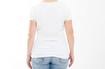 cropped portrait woman middle age in tshirt isolated on white background