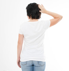 woman in t shirt back view, copy space.template