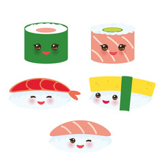 Kawaii funny sushi set with pink cheeks and big eyes, emoji isolated on white background. Vector