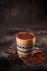Coffee with vanilla and cocoa powder
