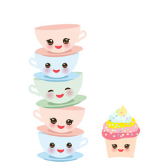 Cute cupcake and blue pink green Kawaii cup set, coffee tea with pink cheeks and winking eyes, pastel colors isolated on white background. Vector