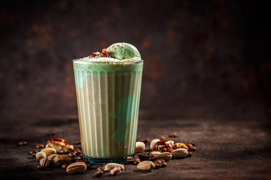 Affogato with pistachio ice cream