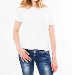 cropped portrait of woman in t-shirt on white background.Mock up for design