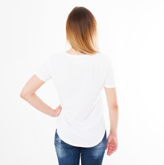 back views of girl in t shirt on white background. Mock up for design. Copy space. Template. Blank