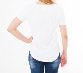 back view portrait woman in white t-shirt.Mock up for design