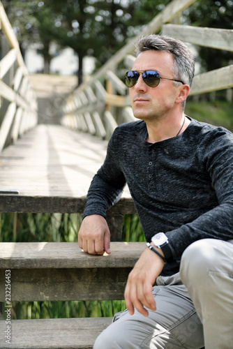 Handsome man  Outdoor male portrait  Single beautiful man
