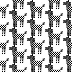 Seamless pattern horse Ornament of Russian folk embroidery, black contour isolated on white background. Can be used for fabrics, wallpapers, websites. Vector