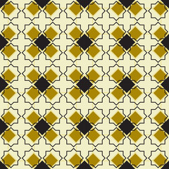 Moroccan seamless pattern, Morocco. Patchwork mosaic with traditional folk geometric ornament gold black. Tribal oriental style. Can be used for fabrics, wallpapers, websites. Vector