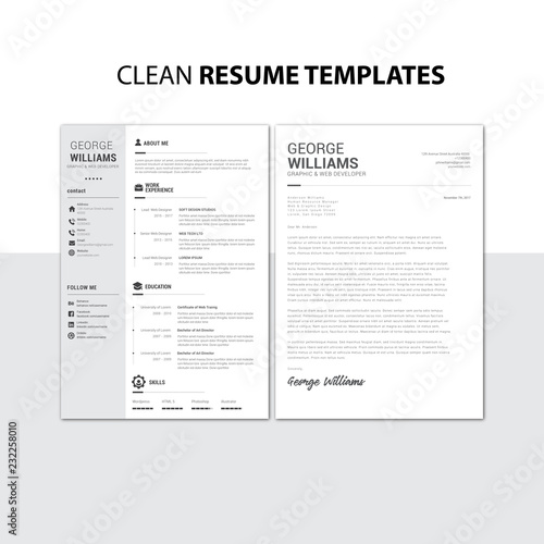 Clean Resume Templates Stock Image And Royalty Free Vector Files On