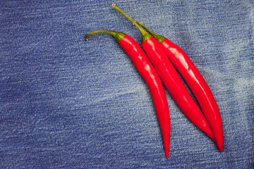 hot chili pepper on jeans background