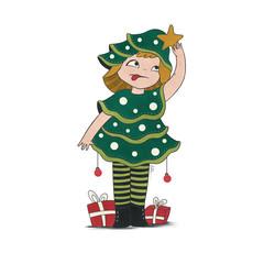 Illustration of Christmas tree Girl