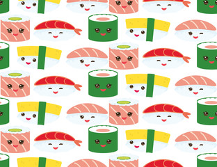 seamless pattern Kawaii funny sushi rolls set with pink cheeks and big eyes, emoji Baby japanese background on white. Vector