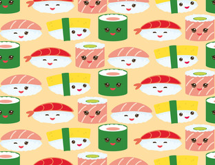 seamless pattern Kawaii funny sushi rolls set with pink cheeks and big eyes, emoji Baby japanese background on Orange. Vector