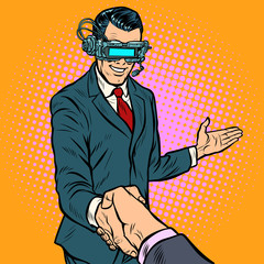 businessman shaking hands in virtual reality