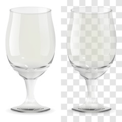 Vector realistic transparent beer glass. Alcohol drink glass icon illustration