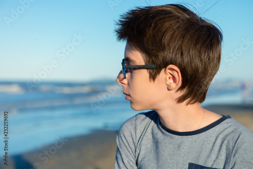 Young Boy Posing At The Summer Beach Cute Calm Spectacled 12 Years