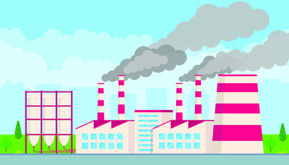 Industrial factory plant flat style design vector illustration. Factory building with smoking pipes, cloudy sky and city behind. Cityspape with tecknology buildings, road and trees next to.
