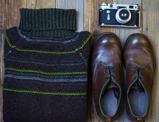 Vintage wool sweater, shoes and antique rangefinder camera