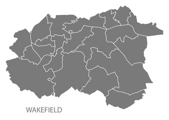 Wakefield city map with wards grey illustration silhouette shape