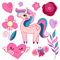 Set of cute, pink items for decoration with hearts, flowers, plants, unicorn and butterfly isolated on white background, vector illustration