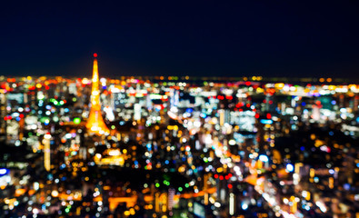Wall Mural - blur view of Tokyo Tower in night