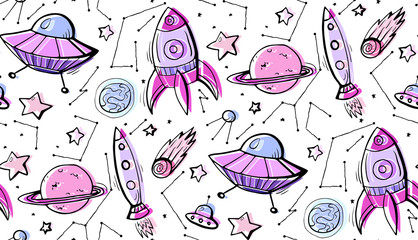 Seamless child pattern of contour colorful illustrations of stars, spaceships and UFOs. Vector pattern for wallpaper, wraps, fabric and your creativity