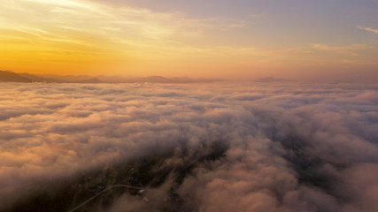 Nature landscape aerial view foggy at sunrise from drone