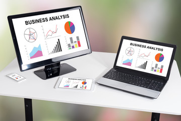 Business analysis concept on different devices