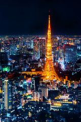 tokyo tower and city skyline under blue night