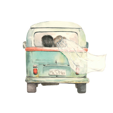 just married couple in the bus, watercolor
