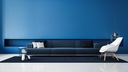 Blue wall modern living room / 3D render interior