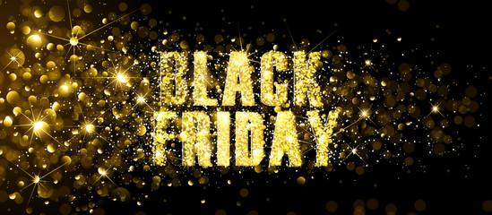 Black Friday Gold Glitter Background. Vector illustration
