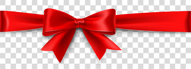 Red Satin Bow Isolated on Background. Vector illustration